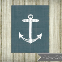 Nautical Wall Art Print /  8x10 inch  / anchor artwork / blue /  boy's bedroom decor / anchor print / ocean / sea