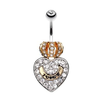 Golden Crown on Heart Belly Button Ring