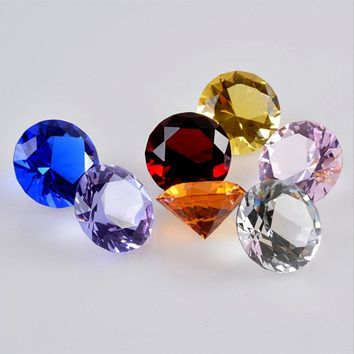 30mm Crystal Glass Diamond Paperweight Quartz Crafts Home Decor Fengshui Ornaments Birthday Wedding Party Souvenir Gifts