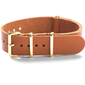 GOLD LEATHER NATO STRAP CEDAR