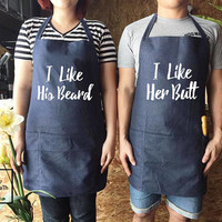 I Like His Beard I Like Her Butt Apron set, Wedding Gifts For Couple - Gifts For Him, canvas jeans Apron, Wedding gift, Family Cooking