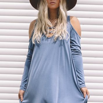 The Love In The World Slate Cold Shoulder Dress