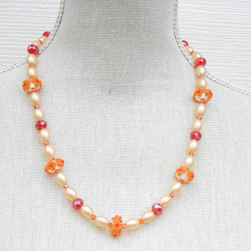 Orange flower lampwork beads necklace, Christmas gift, Christmas present, Birthday gift, mother gift, Glass beads necklace