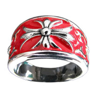 Medieval Cross Lily Knights Templar Band Ring in Sterling Silver with Red Enamel