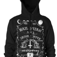 Hail Satan And Drink Coffee - Hooded Pullover Sweater | Black Craft