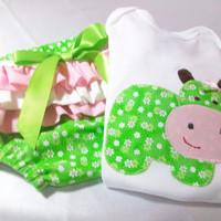 Baby Girl Outfit - Baby Girl Gift  - Girl Diaper cover Set -  Girl Bodysuit