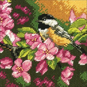 """5""""X5"""" Stitched In Thread Chickadee In Pink Mini Needlepoint Kit"""