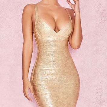 Golden Angel Gold Sleeveless Plunge V Neck Bodycon Bandage Mini Dress