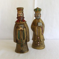 Vintage Paper Mache Christmas Statues, Figurines,  Kings, Wise Men, Magi -1970's Holiday Decoration