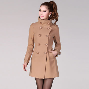 Autumn Women's Double-breasted Coats Woolen Tweeds Silm Camel Blends Long Overcoats Female Black Red Jackets Wool
