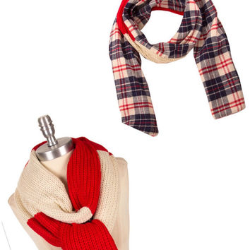 Plaid scarf Knit Scarf Colorblock Plaid Infinity Scarf Bridesmaid Gift Best Selling Items - By PiYOYO