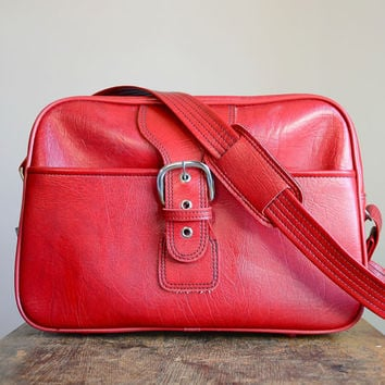 Vintage Red Luggage Travel Bag