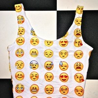 SWEET LORD O'MIGHTY! EMOJI BRALET IN WHITE
