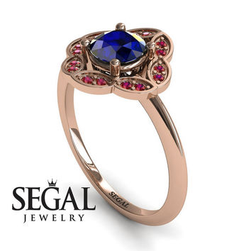 Unique Engagement Ring 14K Red Gold Vintage Antique Ring Victorian Ring Sapphire With Ruby - Lucy