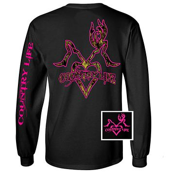 Country Life Outfitters Black & Pink Deer Kiss Heart Love Hunt Vintage Long Sleeve Bright T Shirt