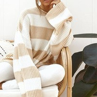 Casual Oversized Striped Sweater Woman Winte O Neck Batwing Sleeve Loose Pullover Knitted Ladies Jumper White