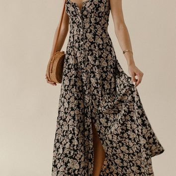 Floral Boho Button Down Maxi Dress