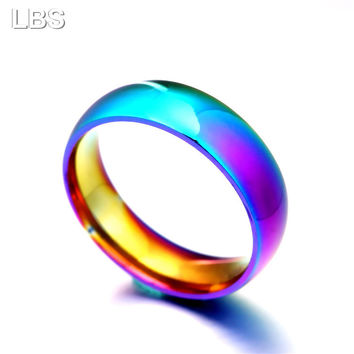 Men Women Rainbow Colorful Ring Titanium Steel Wedding Band Ring Width 2mm 4mm 6mm 8mm Size 5-13 Gift