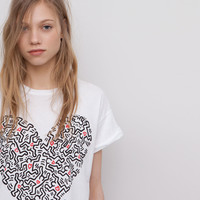 T-SHIRT IMPRIMÉ KEITH HARING - T-SHIRTS ET TOPS - FEMME - PULL&BEAR France