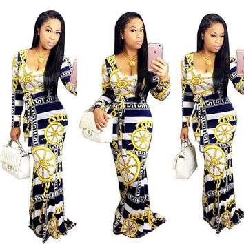 ONETOW African Print long Dress Dashiki Elastic elegant  Dress