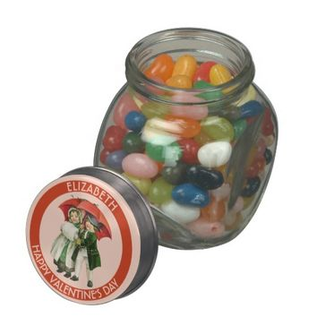 Vintage Valentine Cute Girl And Boy Personalized Glass Candy Jar