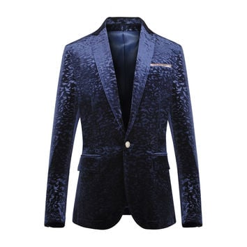 male blue jacket coat outfit costumes casual prom wedding groom party clothing spring autumn formal dress slim singer dancer