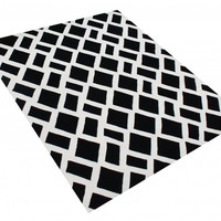 Michael Anthony Furniture Hand Tufted 5x8 Tufted Black/Off-White Diagonal New Zealand Blended Wool Rug