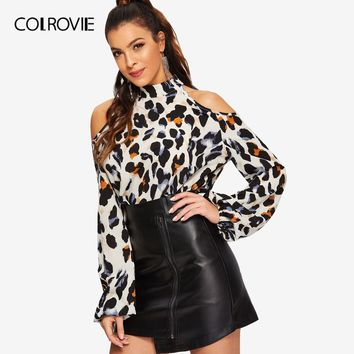 COLROVIE Cold Shoulder Leopard Print Blouse Women Shirts 2019 Spring Korean Fashion Long Sleeve Shirt Elegant Office Ladies Tops