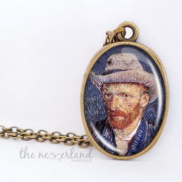 Van Gogh self portrait painting necklace, cabochon jewelry by The Neverland