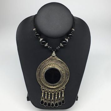 Turkmen Necklace Antique Afghan Tribal Black Onyx Pendant Beaded Necklace VS113