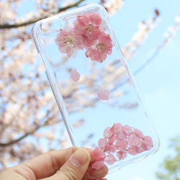 Pink Floral Case 100% Handmade Dried Flowers Cover for iPhone 7 7Plus & iPhone 6 6s Plus + Gift Box B61