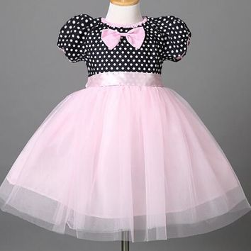 Kids Child Girls Clothes New Fashion Girls Fancy Dresses Infant Kid Costume Formal Party Wedding Ball Gown Cute Bow Dot Dress
