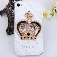 iWaii - 3d Rhinestones Series Shining Queen Tiara Rhinestones Case for iphone 4s (Luxury Queen Crown Body Jewelry 3D Bling iPhone 4s Case) *** Transparent Case ***
