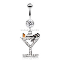 Happy Penguin Hour Martini Belly Button Ring (Clear)