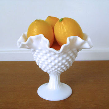 Hobnail milk glass ruffled compote