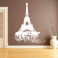 Wall Decal Vinyl Sticker Decals Art Decor Sign Paris Pattern Damask Mural France The Eiffel Tower City World Bedroom Modern Fashion ( r548)