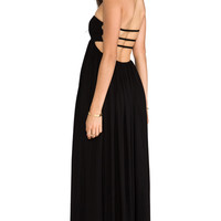 Indah Flamingo Smocked Bandeau Cutaway Maxi Dress in Black
