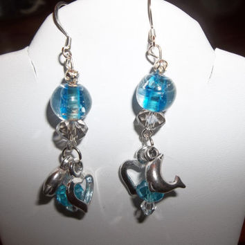 Glass Bead Earrings Dangle with Dolphins Ocean Blue Glass Beads Swarovski Crystal