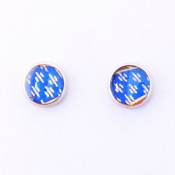 Blue stud earrings, blue river ear studs, washi earrings, Chiyogami jewelry, hypoallergenic surgical steel, resin, gift for her, tiny small