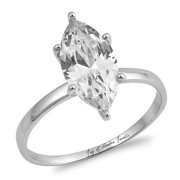 A Perfect 3.5CT Marquise Cut Solitaire Russian Lab Diamond Engagement Ring
