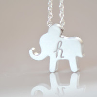 Silver Elephant Necklace - Personalize Initial Necklace - Simple Necklace - Everyday Necklace - Good Luck Necklace - Gift