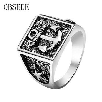 ac spbest OBSEDE New Arrival Anchor Ring for Men Silver Color Star Military Ring Vintage Cool Unique Jewelry for Party Gifts Drop Shipping