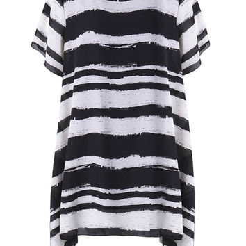 Elegant Stripe High Low Party Tunic T shirt Dress For Women