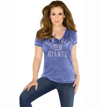 Women's Plus Sizes New York Giants Touch by Alyssa Milano Royal Blue Fire Drill Burnout V-Neck T-Shirt