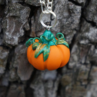 Pumpkin pendant. The best for Halloween. Polymer clay jewelry.