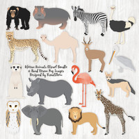 African Animals Clipart Bundle, Safari Animal Clipart Africa Wildlife Illustrations, Jungle Animals, Zoo Animals Clip Art, Animal Scrapbook