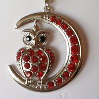 Red Blinged Out Owl Necklace,Earring Set