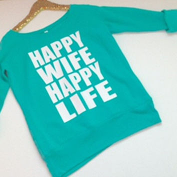 Happy Wife Happy Life - Ruffles with Love - Off the Shoulder Sweatshirt - Womens Clothing - RWL