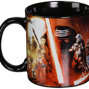 Silver Buffalo SE0134 Disney Star Wars Ep7 All Characters Poster Jumbo Ceramic Mug, 20-Ounces