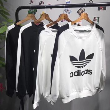 adidas classic black white long sleeves top sweater pullover sweatshirt